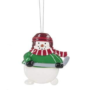 hockey snowman hanging figurine
