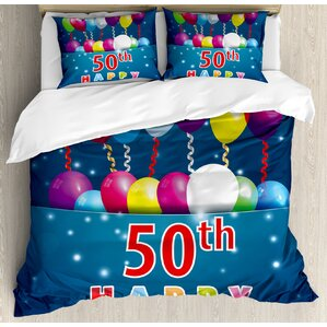50th birthday decorations joyful mood occasion lettering stars balloons ribbons duvet set