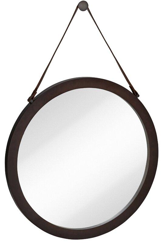Wall Mirror Round majestic mirror round urban modern leather strap decorative