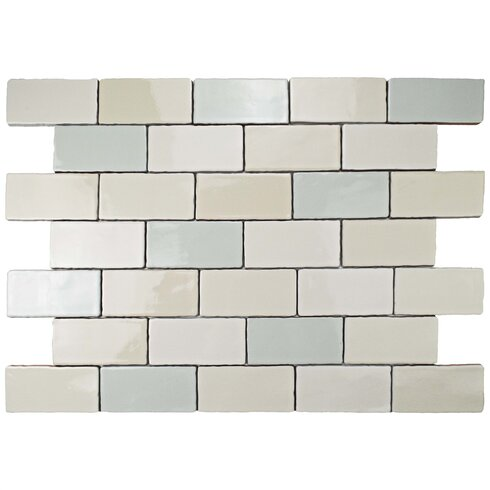 Elitetile Antiqua 3 X 6 Ceramic Subway Tile In Blue Cream Wayfair