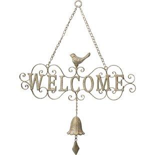 Welcome Decorative Scrollwork Metal Door Hanger Bell