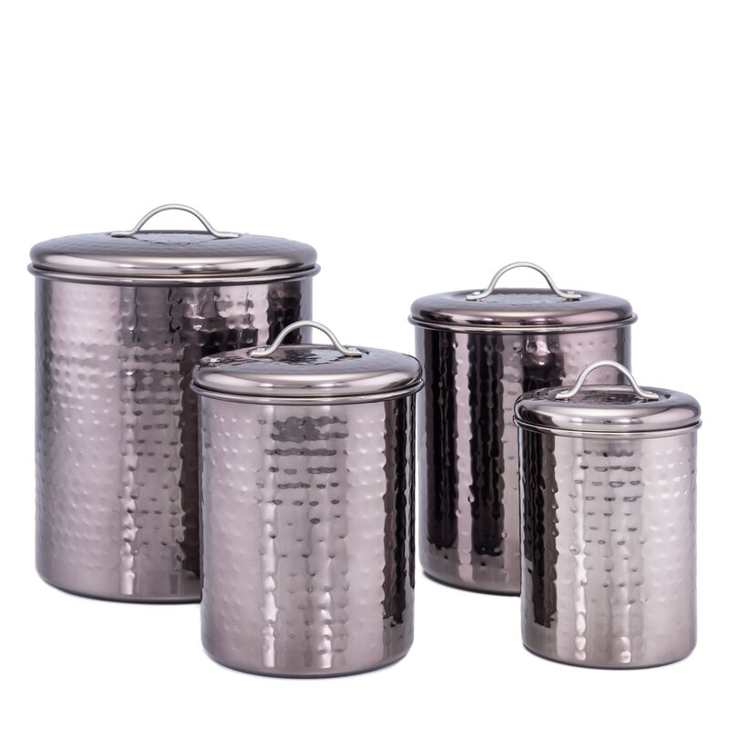 Black Pearl Hammered 4 Piece Kitchen Canister Set