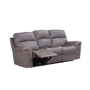 Haith Power Genuine Leather Reclining Sofa