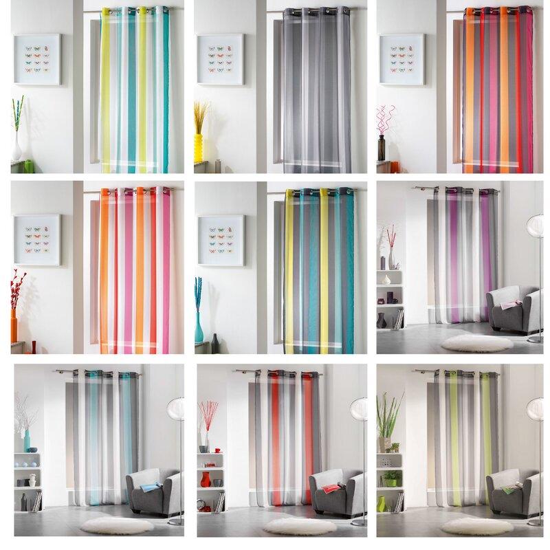 evideco riviera striped sheer grommet single curtain panel