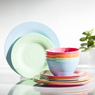 Melamine Brist 12 Piece Dinnerware Set Service for 4 & Outdoor Dinnerware Sets Youu0027ll Love | Wayfair
