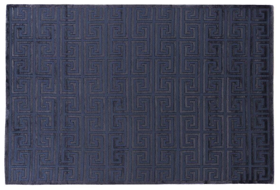 Hand Knotted Wool/Silk Navy Blue Area Rug