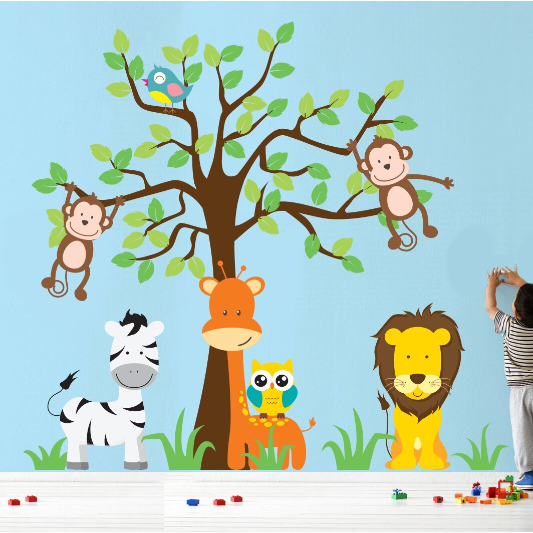 wall decal source nursery jungle tree giraffe and safari african tree with jungle animals wall decal wall stickers