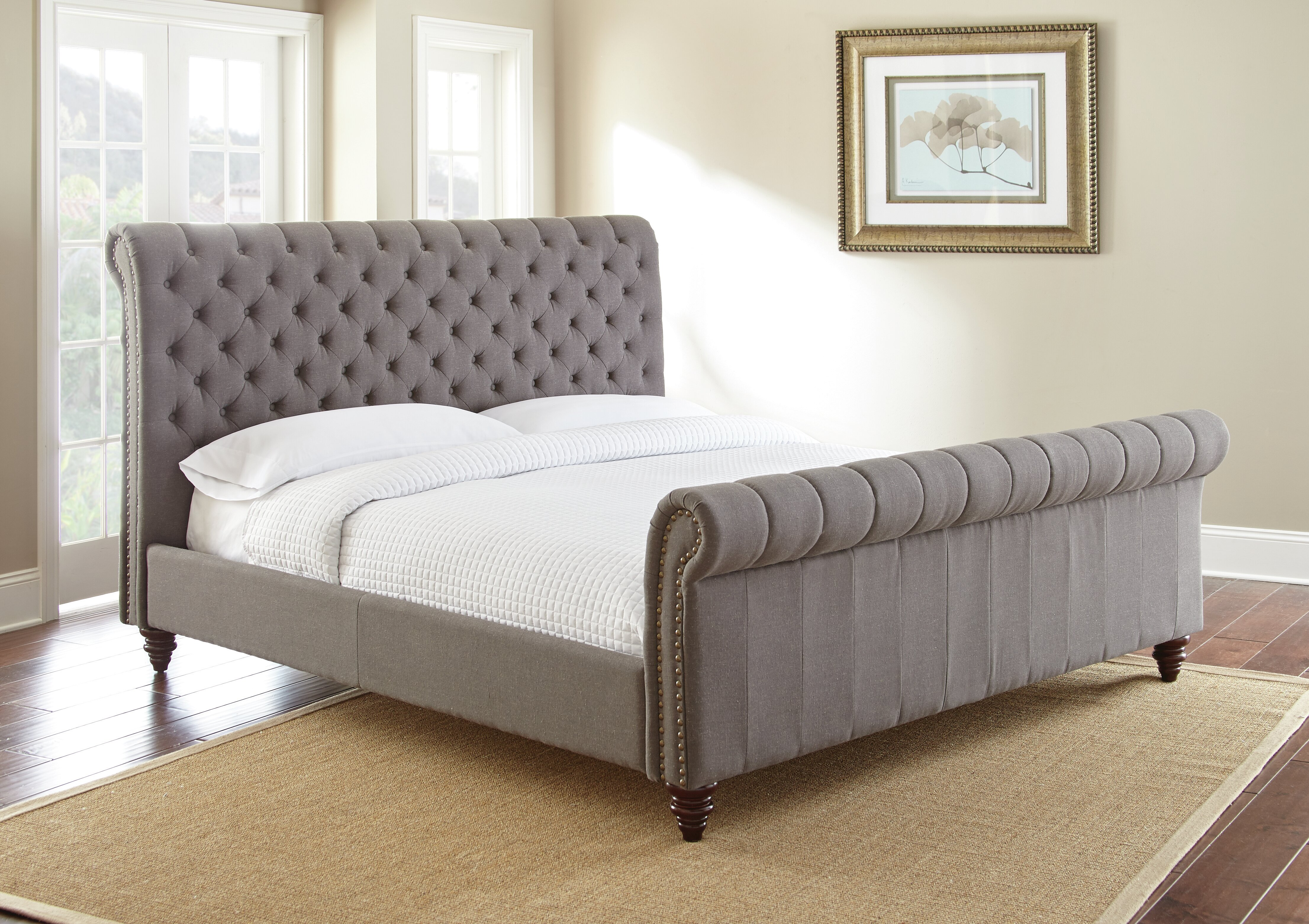 Tufted upholstered sleigh bed Ashley Wayfair Darby Home Co Karsten Upholstered Sleigh Bed Reviews Wayfair