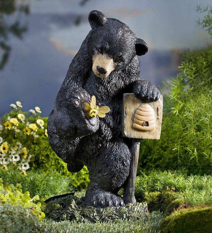 Solar Bear And Bee Garden Statue