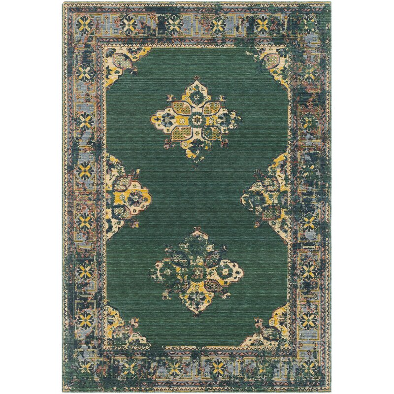 Bungalow Rose Rand Overdyed Vintage Dark Greenbright Yellow Area
