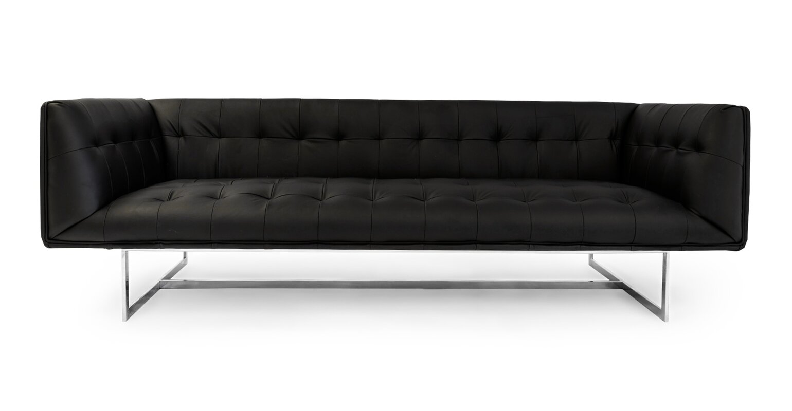 Chesterfield sofa modern  Kardiel Edward Mid Century Modern Leather Chesterfield Sofa ...