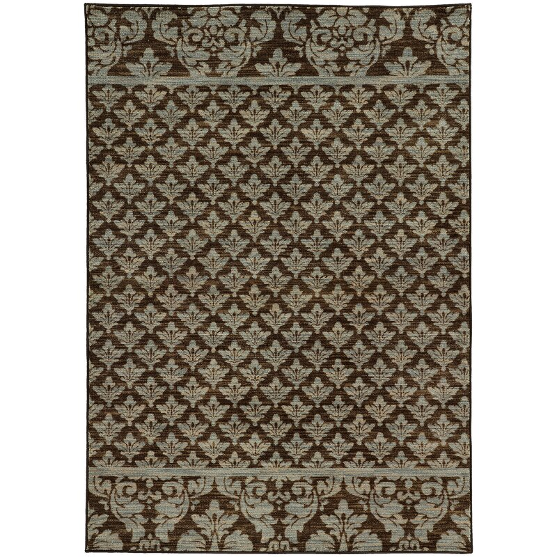 Alcott Hill Alicia Floral Brown/Blue Area Rug, Size: Rectangle 67 x 96