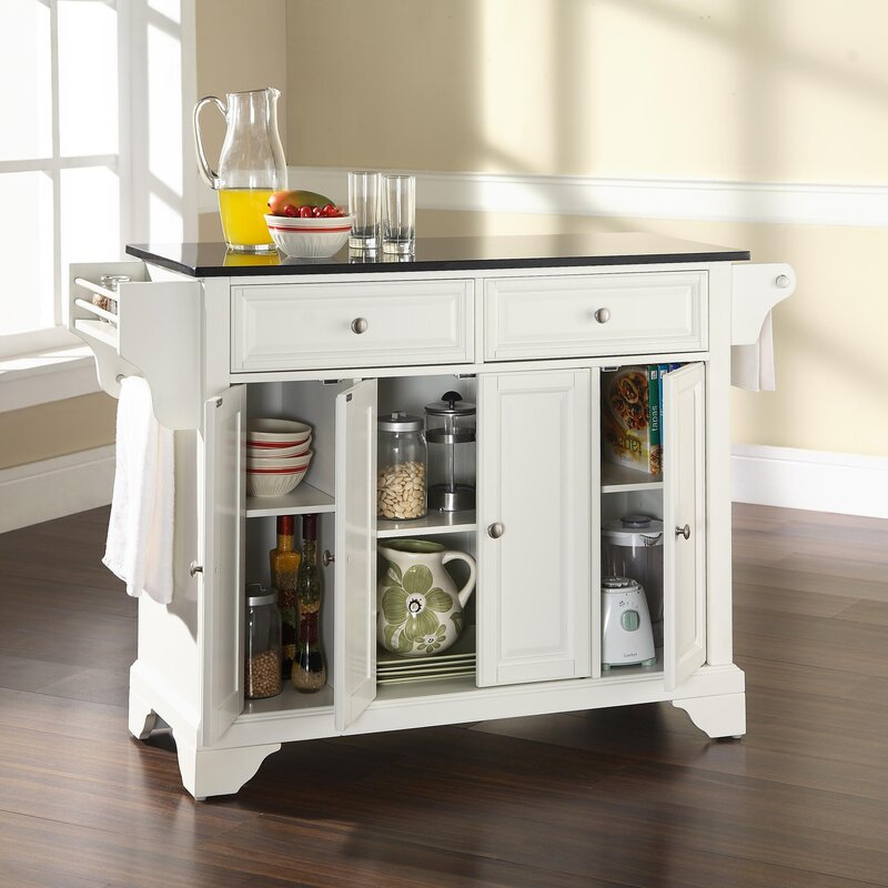 Darby Home Co Abbate Kitchen Island with Solid Black Granite Top ...