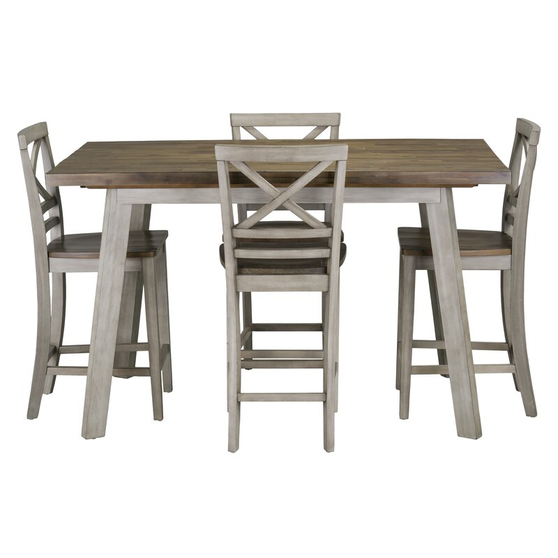 e8f1f8261c6f Gracie Oaks Tegan 5 Piece Counter Height Solid Wood Dining Set ...