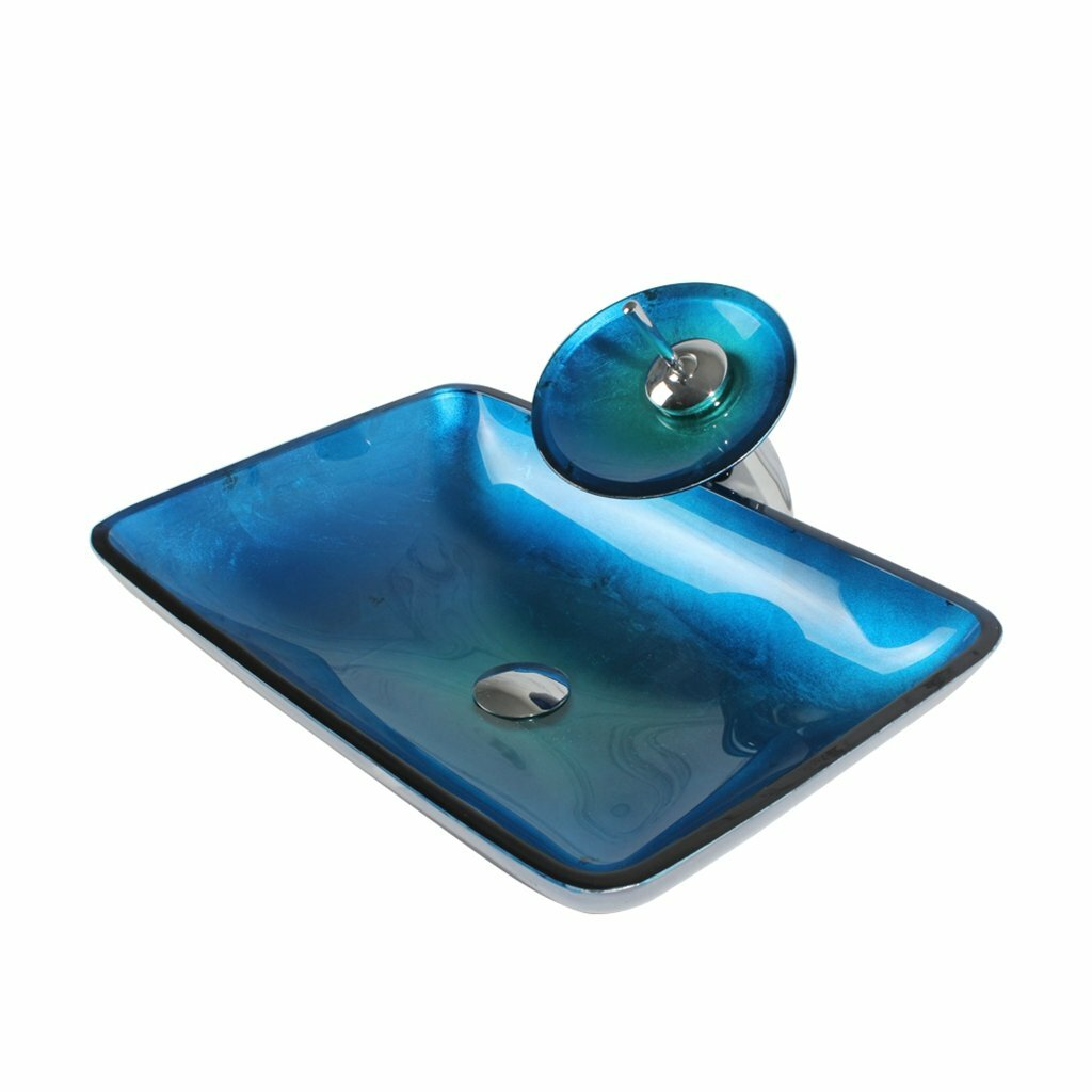 Arsumo Glass Rectangular Vessel Bathroom Sink with Faucet & Reviews ...