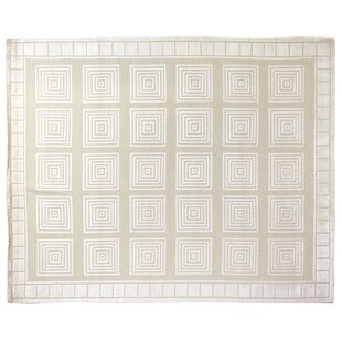 Greek Key Hand Knotted Wool Ivory White Area Rug