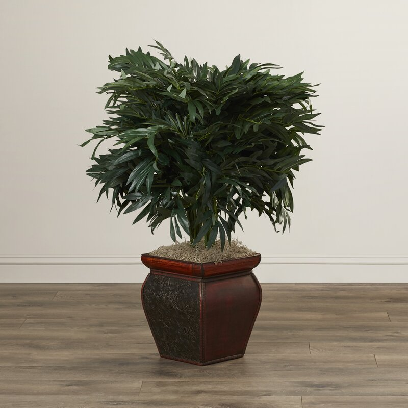 World Menagerie Double Bamboo Palm Floor Plant In Decorative Vase