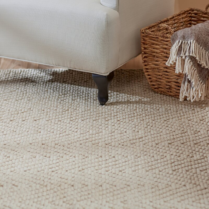 Honesdale Hand Woven Ivory Beige Area Rug