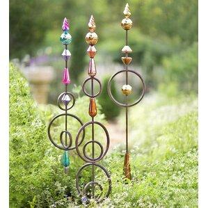 Metal And Mercury Glass Garden Stake