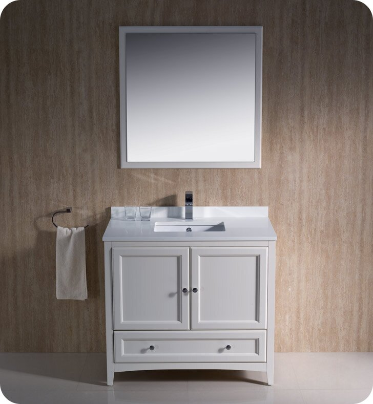 "fresca oxford 36"" single traditional bathroom vanity set with"