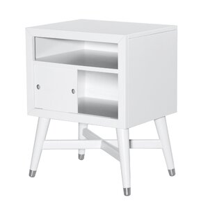 Mid-Century French White Nightstand by DwellStudio