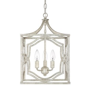 Destrey Traditional 3-Light LED Metal Foyer Pendant
