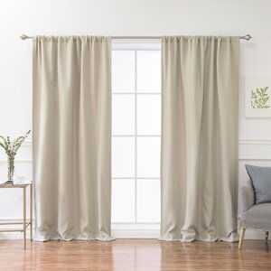 Reyna Linen Solid Blackout Thermal Rod Pocket Single Curtain Panel