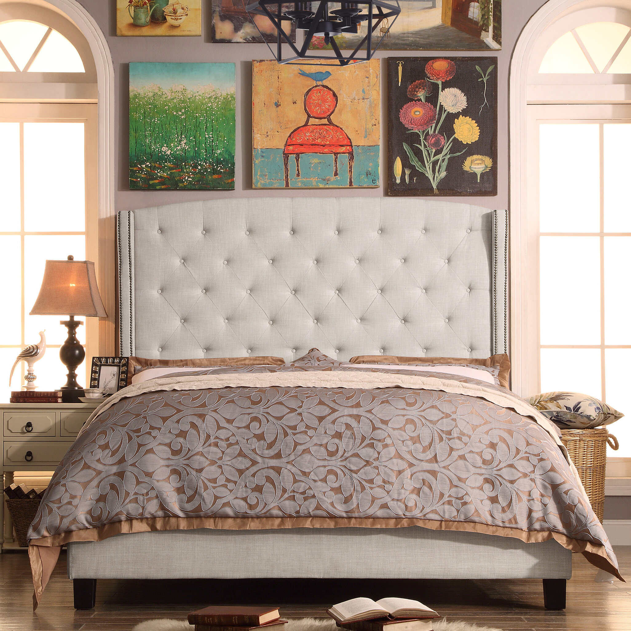 willa arlo interiors destiny upholstered panel bed reviews wayfair