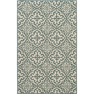 Peyton Hand-Hooked Blue/Beige Outdoor Area Rug