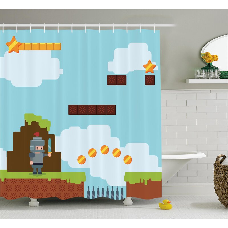 Shannon Games Arcade Knight 90's Single Shower Curtain