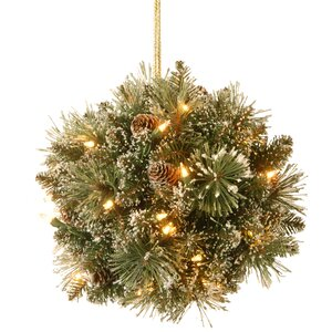 Pine Pre-Lit Kissing Ball with 35 Warm White LED Lights