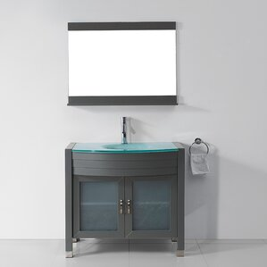 Bathroom Vanity Glass Top glass top bathroom vanity | wayfair