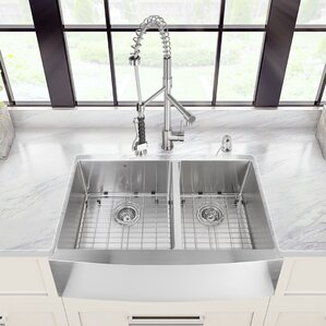VIGO 33 inch Farmhouse Apron 60/40 Double Bowl 16 Gauge Stainless Steel Kitchen Sink with Zurich Stainless Steel Faucet, T...