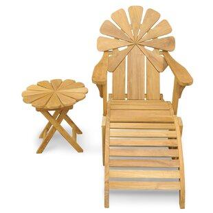 Veun Petals Adirondack Chair With Ottoman Table Set Of 3