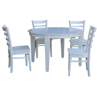 Round 5 Piece Extendable Solid Wood Dining Set