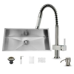 VIGO 32 inch Undermount Single Bowl 16 Gauge Stainless Steel Kitchen Sink with Lincroft Stainless Steel Faucet, Grid, Stra...