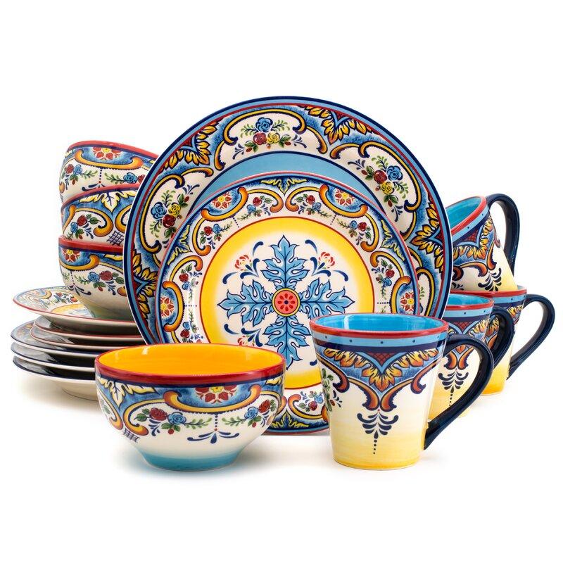 Zanzibar 16 Piece Dinnerware Set Service for 4  sc 1 st  Wayfair & Euro Ceramica Zanzibar 16 Piece Dinnerware Set Service for 4 ...