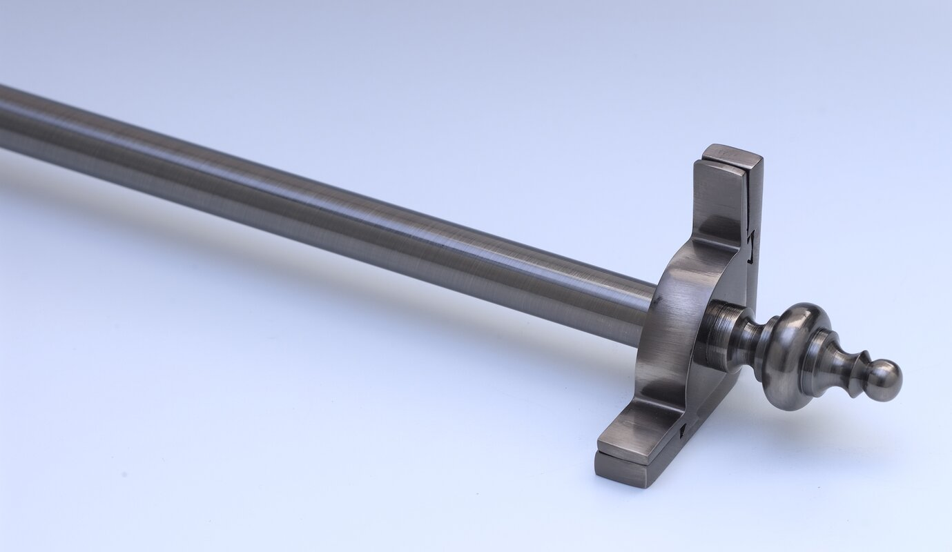 "Dynasty 36"" Smooth Tubular Stair Rod Set with Smooth Brackets Urn Finials"