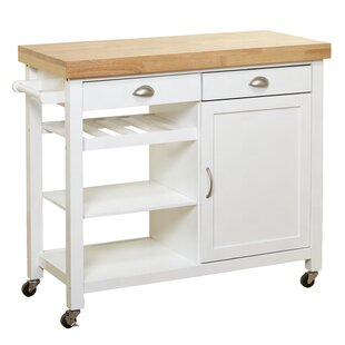 Nathaly Kitchen Cart with Wood Top