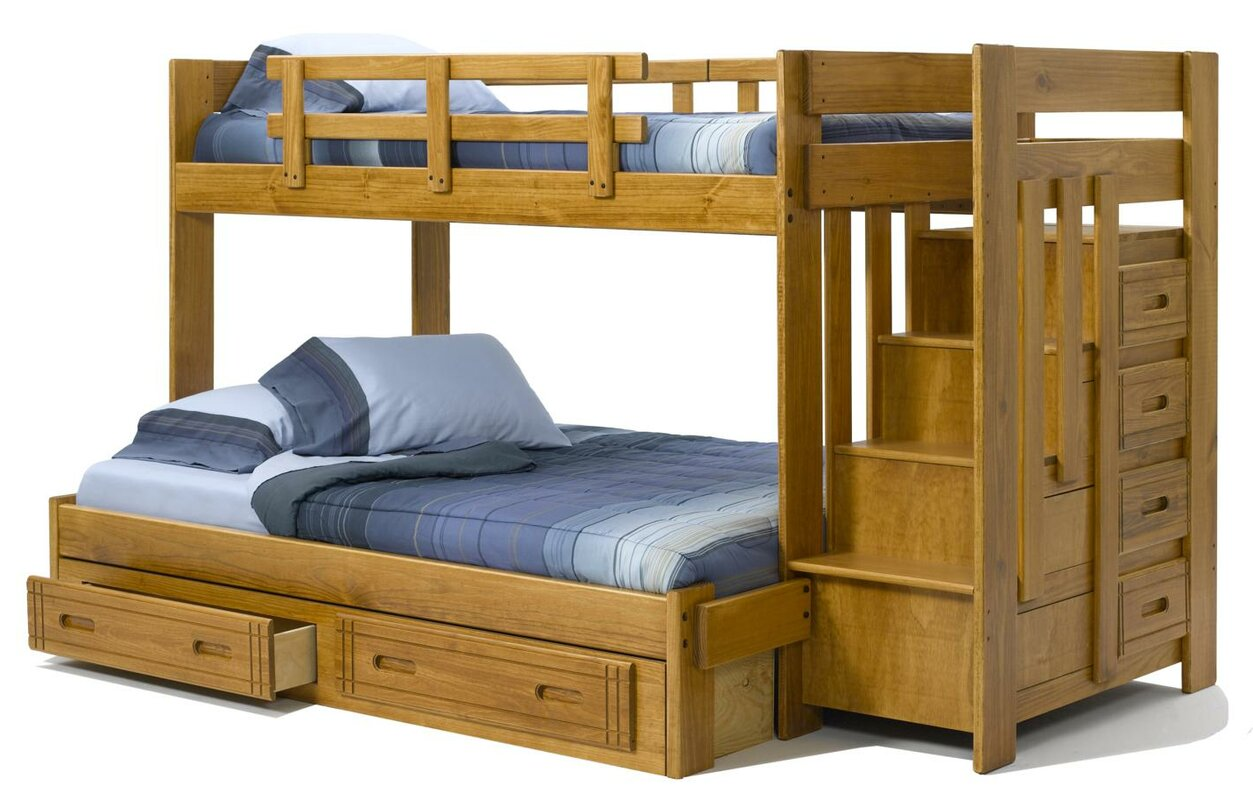 chelsea home twin over full bunk bed with storage  reviews  wayfair - defaultname
