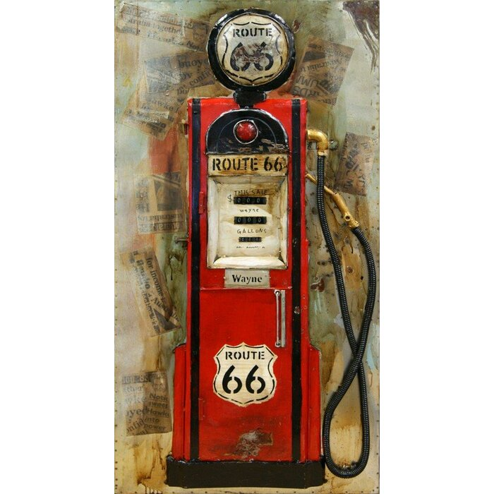 Hdc International 3d Vintage Look Route 66 Gas Pump Wall Decor