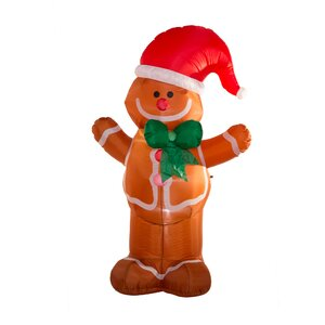 Lighted Gingerbread Man Decor Inflatable