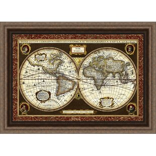 World map picture wayfair trends decorative world map framed graphic art gumiabroncs Image collections