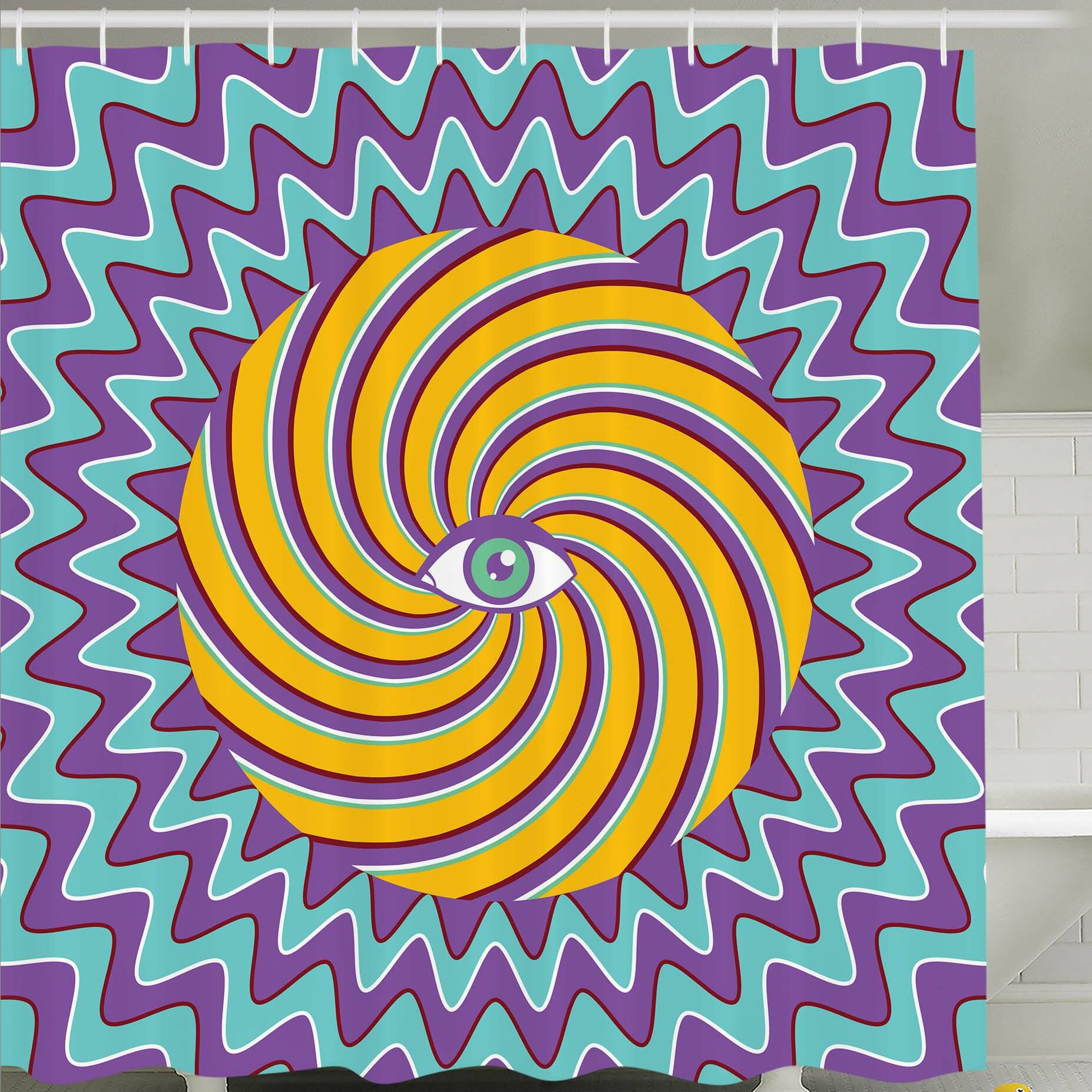 Ambesonne Third Eye Symbol inside Hypnotic Spiral Circles Trippy ...