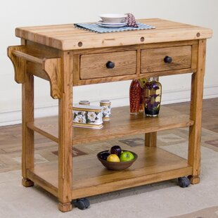 Hearns Kitchen Island With Butcher Block Top