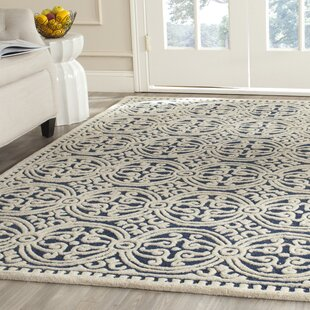 Fairburn Hand Tufted Wool Navy Ivory Area Rug