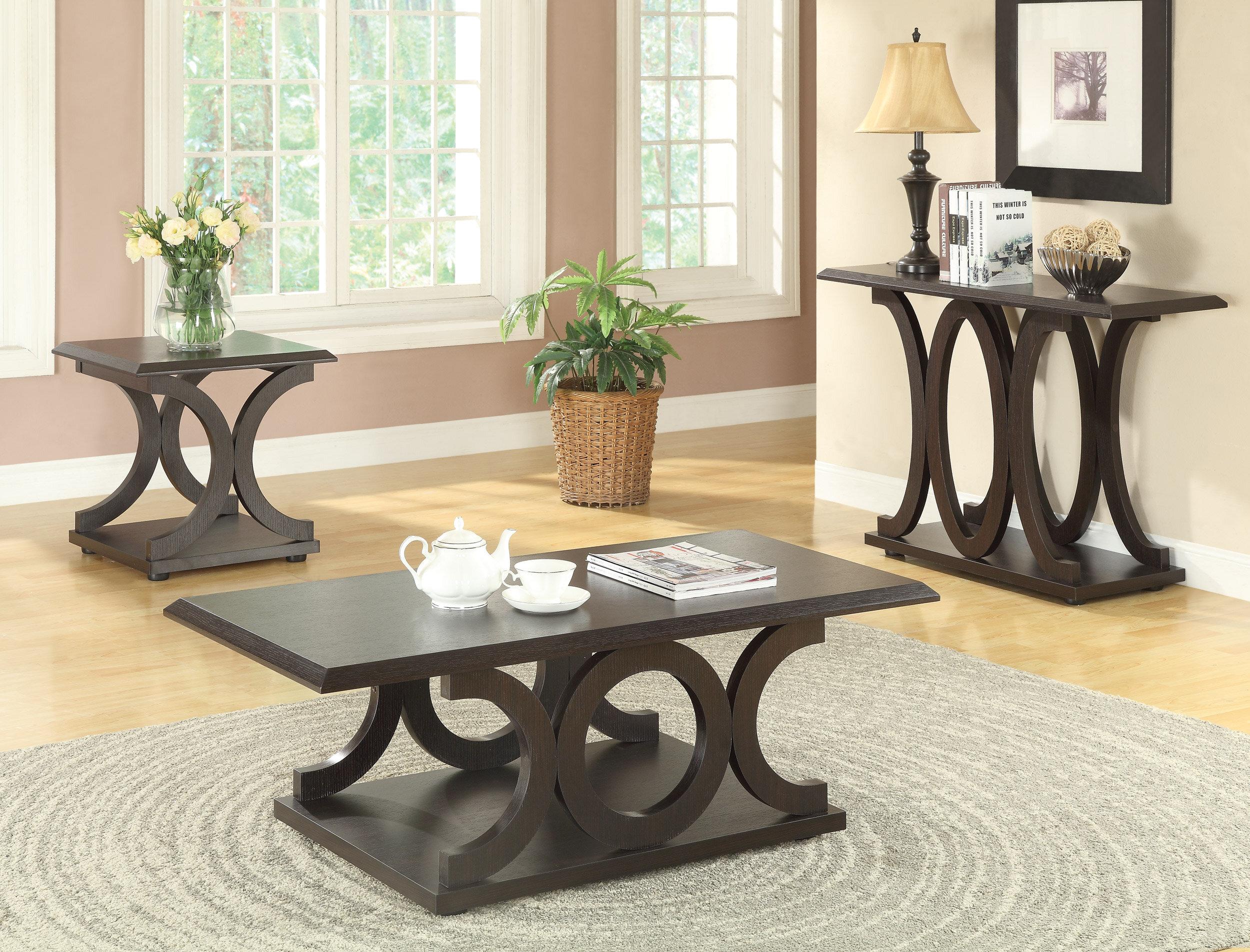 Coffee Table 3 Piece Sets.Adaline 3 Piece Coffee Table Set