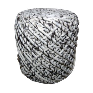 Round Wool Pouf WONDER in Blac..