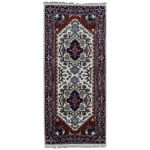 Roselle Traditional Hand Woven Wool Navy/Beige Area Rug