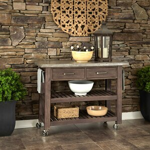 Eolus Kitchen Cart with Concrete Top by Loon Peak